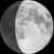 The moon at 72% visibility
