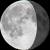 The moon at 74% visibility